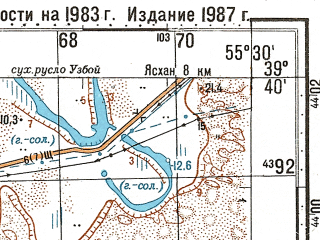 Reduced fragment of topographic map ru--gs--100k--j40-015--N039-40_E055-00--N039-20_E055-30; towns and cities Pereval