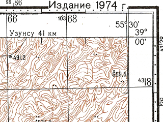 Reduced fragment of topographic map ru--gs--100k--j40-039--N039-00_E055-00--N038-40_E055-30