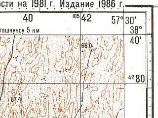 Reduced fragment of topographic map ru--gs--100k--j40-055--N038-40_E057-00--N038-20_E057-30; towns and cities Bakharden, Imeni Kirova, Karagan