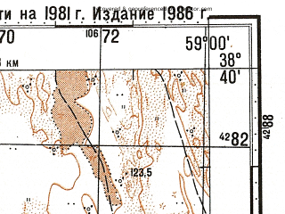 Reduced fragment of topographic map ru--gs--100k--j40-058--N038-40_E058-30--N038-20_E059-00