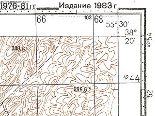 Reduced fragment of topographic map ru--gs--100k--j40-063--N038-20_E055-00--N038-00_E055-30