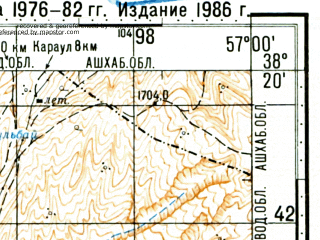 Reduced fragment of topographic map ru--gs--100k--j40-066--N038-20_E056-30--N038-00_E057-00; towns and cities Bagleg, Hesarcheh