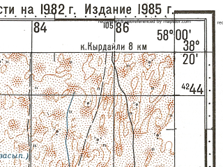 Reduced fragment of topographic map ru--gs--100k--j40-068--N038-20_E057-30--N038-00_E058-00; towns and cities Geok-tepe, Akdepe, Germob, Kurkulab