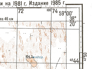 Reduced fragment of topographic map ru--gs--100k--j40-070--N038-20_E058-30--N038-00_E059-00