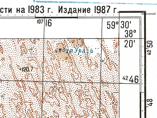 Reduced fragment of topographic map ru--gs--100k--j40-071--N038-20_E059-00--N038-00_E059-30; towns and cities Kyrkkui