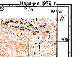 Reduced fragment of topographic map ru--gs--100k--j40-077--(1976)--N038-00_E056-00--N037-40_E056-30; towns and cities Palcheqli