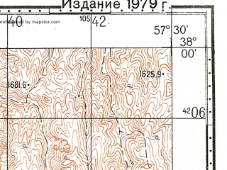 Reduced fragment of topographic map ru--gs--100k--j40-079--N038-00_E057-00--N037-40_E057-30; towns and cities Mianzow