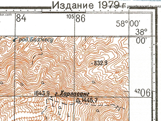 Reduced fragment of topographic map ru--gs--100k--j40-080--N038-00_E057-30--N037-40_E058-00; towns and cities 'ali Mohammad, Robat