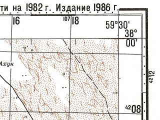 Reduced fragment of topographic map ru--gs--100k--j40-083--N038-00_E059-00--N037-40_E059-30