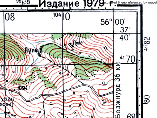 Reduced fragment of topographic map ru--gs--100k--j40-088--(1976)--N037-40_E055-30--N037-20_E056-00; towns and cities Chetal