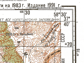 Reduced fragment of topographic map ru--gs--100k--j40-093--N037-40_E058-00--N037-20_E058-30; towns and cities Dor Badam