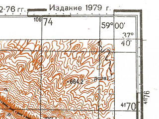 Reduced fragment of topographic map ru--gs--100k--j40-094--N037-40_E058-30--N037-20_E059-00; towns and cities Shevey