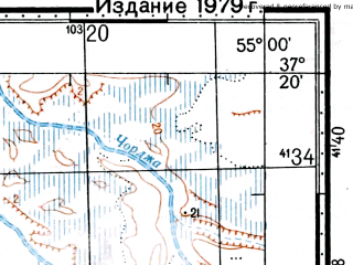 Reduced fragment of topographic map ru--gs--100k--j40-098--(1976)--N037-20_E054-30--N037-00_E055-00; towns and cities Kuckak Katul