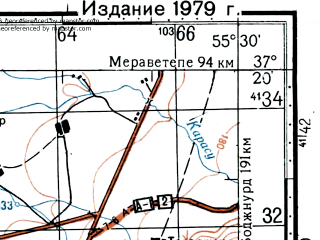 Reduced fragment of topographic map ru--gs--100k--j40-099--(1976)--N037-20_E055-00--N037-00_E055-30; towns and cities Minudasht
