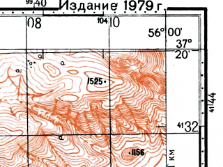 Reduced fragment of topographic map ru--gs--100k--j40-100--(1976)--N037-20_E055-30--N037-00_E056-00; towns and cities Nardin
