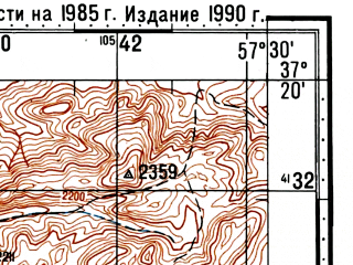 Reduced fragment of topographic map ru--gs--100k--j40-103--(1985)--N037-20_E057-00--N037-00_E057-30; towns and cities Chaharborj, Gerivan