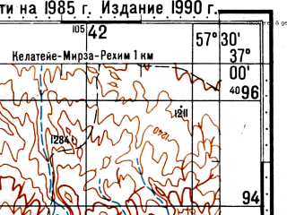 Reduced fragment of topographic map ru--gs--100k--j40-115--(1985)--N037-00_E057-00--N036-40_E057-30; towns and cities Sirghan