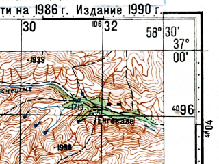 Reduced fragment of topographic map ru--gs--100k--j40-117--(1986)--N037-00_E058-00--N036-40_E058-30; towns and cities Langar, Soltan Meydan