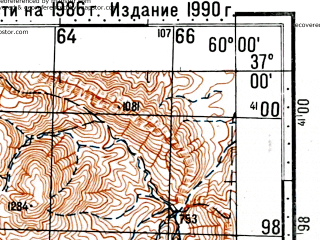 Reduced fragment of topographic map ru--gs--100k--j40-120--(1986)--N037-00_E059-30--N036-40_E060-00; towns and cities Hammam Qal`eh, Kardeh