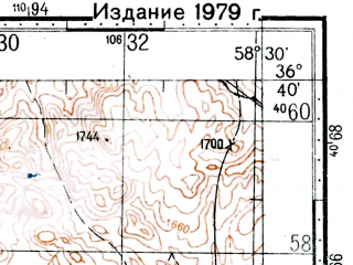 Reduced fragment of topographic map ru--gs--100k--j40-129--(1975)--N036-40_E058-00--N036-20_E058-30