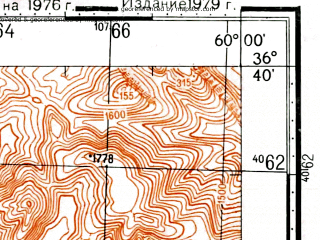 Reduced fragment of topographic map ru--gs--100k--j40-132--(1976)--N036-40_E059-30--N036-20_E060-00; towns and cities Amarghan, Tabakdan