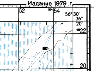 Reduced fragment of topographic map ru--gs--100k--j40-137--(1976)--N036-20_E056-00--N036-00_E056-30; towns and cities Dastjerd