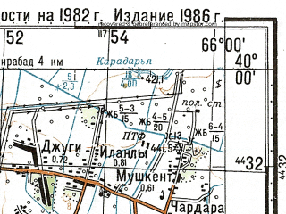 Reduced fragment of topographic map ru--gs--100k--j41-012--N040-00_E065-30--N039-40_E066-00; towns and cities Aktash