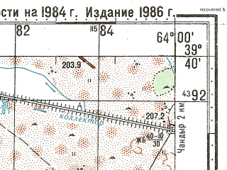 Reduced fragment of topographic map ru--gs--100k--j41-020--N039-40_E063-30--N039-20_E064-00; towns and cities Karakul'