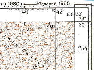 Reduced fragment of topographic map ru--gs--100k--j41-031--N039-20_E063-00--N039-00_E063-30; towns and cities Deynau