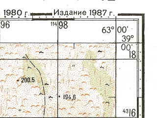 Reduced fragment of topographic map ru--gs--100k--j41-042--N039-00_E062-30--N038-40_E063-00; towns and cities Kapakly