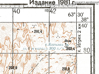 Reduced fragment of topographic map ru--gs--100k--j41-055--N038-40_E063-00--N038-20_E063-30
