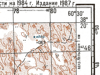 Reduced fragment of topographic map ru--gs--100k--j41-061--N038-20_E060-00--N038-00_E060-30; towns and cities Yelbarsly