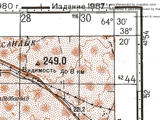 Reduced fragment of topographic map ru--gs--100k--j41-069--N038-20_E064-00--N038-00_E064-30