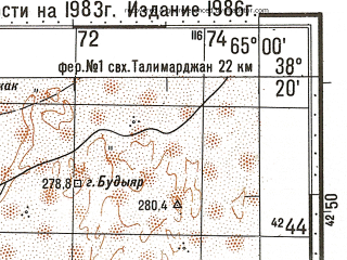 Reduced fragment of topographic map ru--gs--100k--j41-070--N038-20_E064-30--N038-00_E065-00; towns and cities Khalach