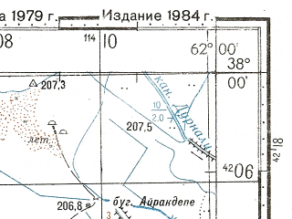 Reduced fragment of topographic map ru--gs--100k--j41-076--N038-00_E061-30--N037-40_E062-00