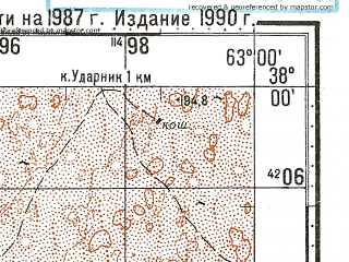 Reduced fragment of topographic map ru--gs--100k--j41-078--N038-00_E062-30--N037-40_E063-00; towns and cities Ravnina