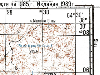 Reduced fragment of topographic map ru--gs--100k--j41-081--N038-00_E064-00--N037-40_E064-30