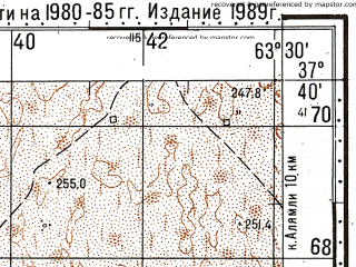 Reduced fragment of topographic map ru--gs--100k--j41-091--N037-40_E063-00--N037-20_E063-30