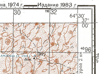 Reduced fragment of topographic map ru--gs--100k--j41-117--N037-00_E064-00--N036-40_E064-30