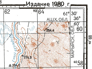 Reduced fragment of topographic map ru--gs--100k--j41-123--N036-40_E061-00--N036-20_E061-30