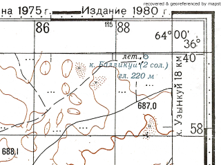 Reduced fragment of topographic map ru--gs--100k--j41-128--N036-40_E063-30--N036-20_E064-00