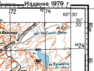 Reduced fragment of topographic map ru--gs--100k--j41-133--(1974)--N036-20_E060-00--N036-00_E060-30; towns and cities Shurak Maleki