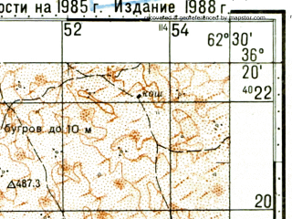 Reduced fragment of topographic map ru--gs--100k--j41-137--N036-20_E062-00--N036-00_E062-30; towns and cities Malay-adzhi