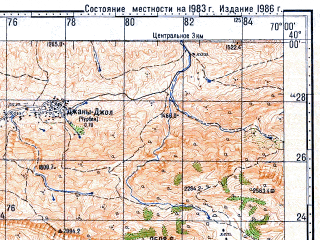 Reduced fragment of topographic map ru--gs--100k--j42-008--N040-00_E069-30--N039-40_E070-00; towns and cities Sulyukta, Isfana, Lyaylyak