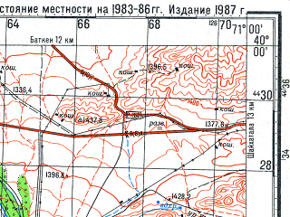 Reduced fragment of topographic map ru--gs--100k--j42-010--N040-00_E070-30--N039-40_E071-00; towns and cities Vorukh