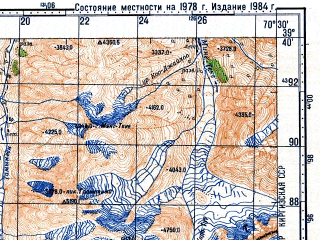 Reduced fragment of topographic map ru--gs--100k--j42-021--N039-40_E070-00--N039-20_E070-30; towns and cities Dekhisor
