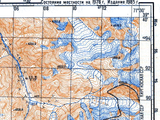Reduced fragment of topographic map ru--gs--100k--j42-023--N039-40_E071-00--N039-20_E071-30