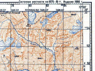 Reduced fragment of topographic map ru--gs--100k--j42-032--N039-20_E069-30--N039-00_E070-00