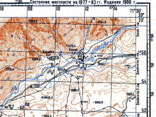 Reduced fragment of topographic map ru--gs--100k--j42-035--N039-20_E071-00--N039-00_E071-30; towns and cities Dzhirgatal