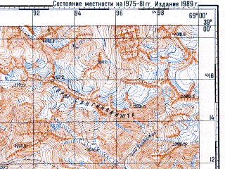 Reduced fragment of topographic map ru--gs--100k--j42-042--N039-00_E068-30--N038-40_E069-00; towns and cities Khanaka, Takob, Varzob